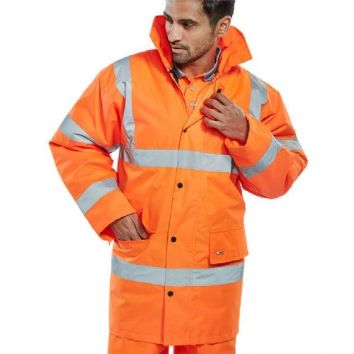 BSeen Hi Vis Orange Constructor Traffic Jacket